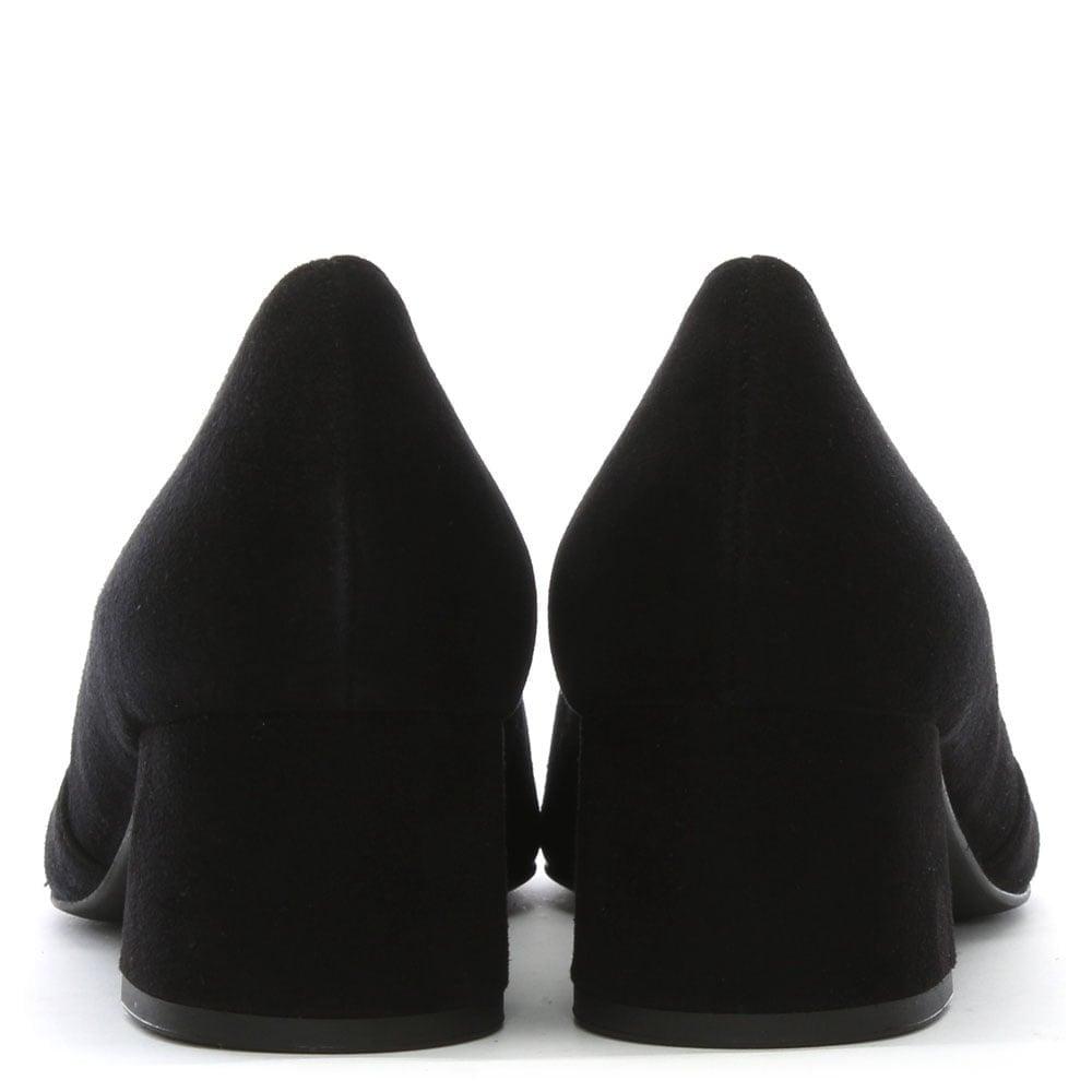 Hogl Eaton | Women's Block Heel Court Shoes in Black Suede