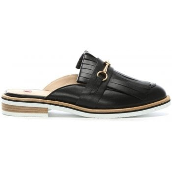 Hogl Fringe Black Leather Backless Loafers
