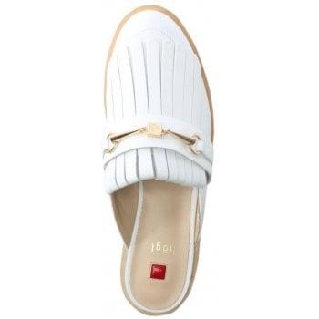 Hogl Fringe White Leather Backless Loafers