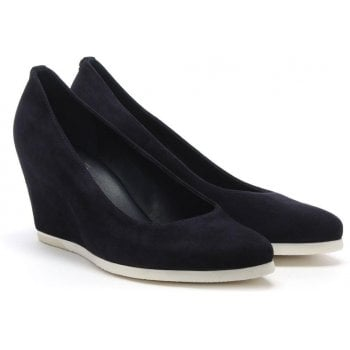 Hogl Navy Suede Wedge Court Shoes