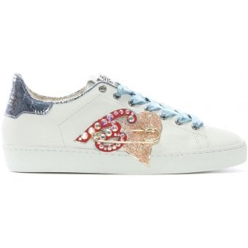 Hogl Ribbon White Leather Applique Sneakers