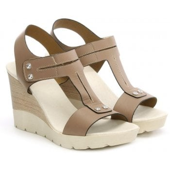 DF By Daniel Peterlee Taupe Leather High Wedge Sandal
