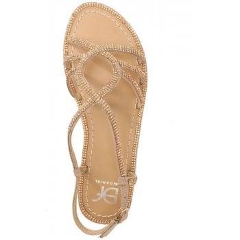 DF By Daniel Kloss Gold Twist Strap Diamante Sandal