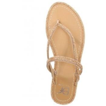 DF By Daniel Delevingne Gold Diamante Toe Post Sandal