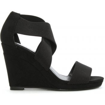 DF By Daniel Portmore Black Cross Over Strap Wedge Sandal