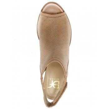 DF By Daniel Haswell Beige Leather Sling Back Block Heel Sandal