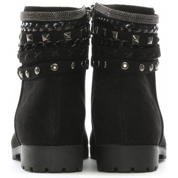 DF By Daniel Weighton Black Suedette Embellished Ankle Boots