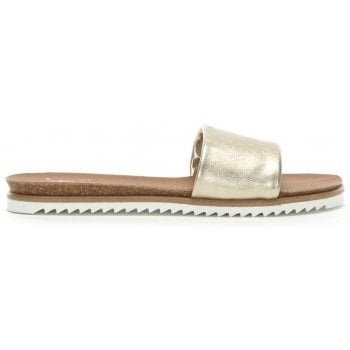DF By Daniel Colton Gold Metallic Leather Chunky Strap Mules