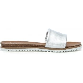 DF By Daniel Colton Silver Metallic Leather Chunky Strap Mules