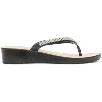 9b7cc8baad37d1 DF By Daniel Sunny Black Crystal Toe Post Wedge Flip Flops - DF By ...