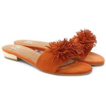 DF By Daniel Folly Orange Pom Pom Flat Mules
