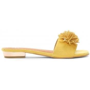 DF By Daniel Folly Yellow Pom Pom Flat Mules