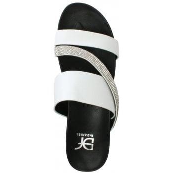 DF By Daniel Wicket White Diamante Asymmetric Strap Sandals
