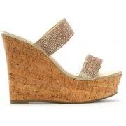 DF By Daniel Shayshay Gold Metallic Crystal Wedge Sandals