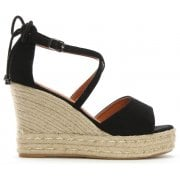 DF By Daniel Bismark Black Suedette Tie Back Wedge Espadrilles