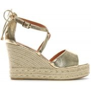 DF By Daniel Bismark Gold Metallic Top Lace Wedge Espadrilles
