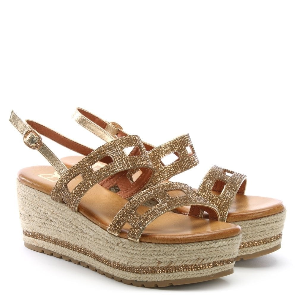d7f2b3a3fd6 DF By Daniel Rydall Gold Metallic Diamante Flatform Sandals - DF By ...