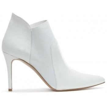 Daniel Afede White Leather Pointed Toe Chelsea Boots
