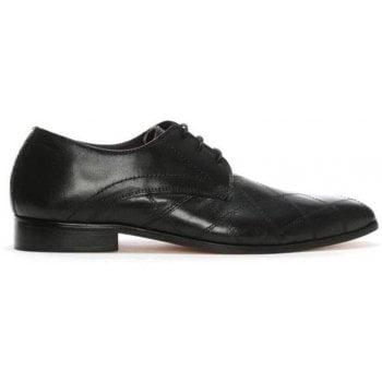 Gucinari Black Leather Diamond Cross Stitch Lace Up Shoes