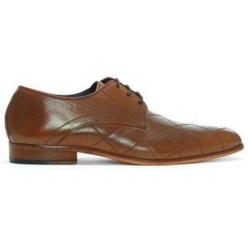 Gucinari Tan Leather Diamond Cross Stitch Lace Up Shoes