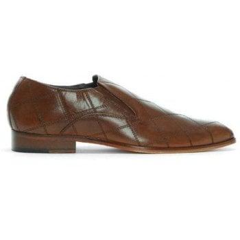 Gucinari Tan Leather Diamond Cross Stitch Slip On Loafers
