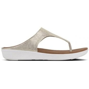 Fitflop Banda Silver Metallic Leather Toe Post Sandals