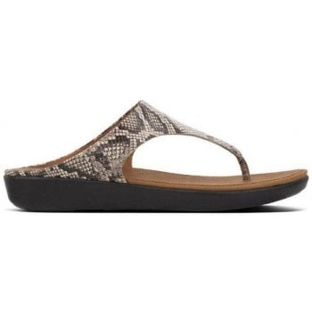 Fitflop Banda Taupe Snake Leather Toe Post Sandals