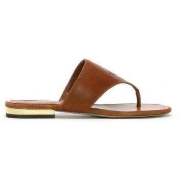 Lauren by Ralph Lauren Deandra Tan Leather Toe Post Sandals