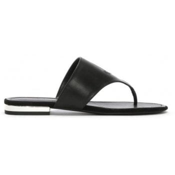 Lauren by Ralph Lauren Deandra Black Leather Toe Post Sandals