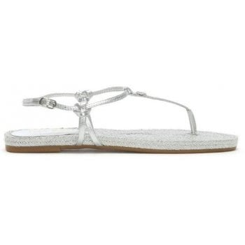 Lauren by Ralph Lauren Makayla Silver Leather Toe Post Sandals