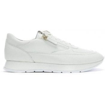 Hogl White Leather Lace Up Sneakers