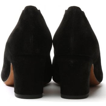 Daniel Scalloping Black Suede Court Shoe