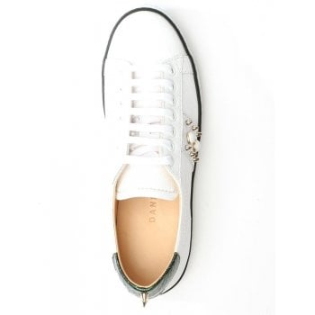 Daniel Studliest White Leather Embellished Trainer
