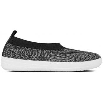 Fitflop Uberknit Black & Grey Ballerina Flats