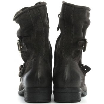 Daniel Manta Grey Leather Biker Boots
