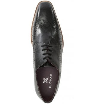 Gucinari Black Leather Punched Brogues