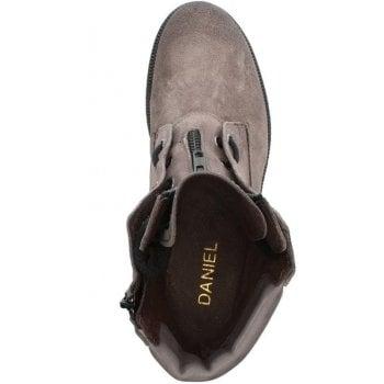 Daniel Mora Grey Suede Zip Front Ankle Boots