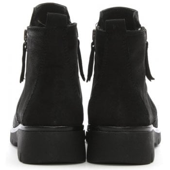 Daniel Rainford Black Suede Double Zip Ankle Boots
