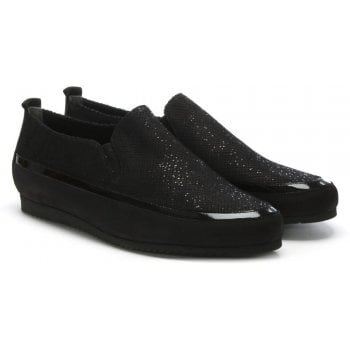 Hogl Metallic Black Suede Sporty Pumps