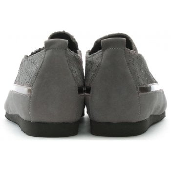 Hogl Metallic Grey Suede Sporty Pumps