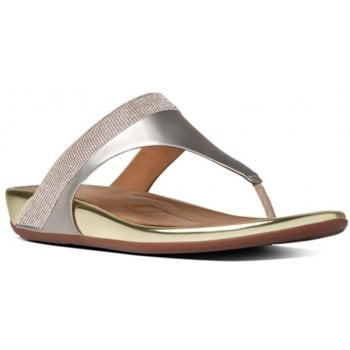 Fitflop Gold Leather Banda Micro Crystal Toe Post Sandals