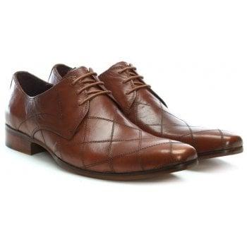 Gucinari Tan Leather Diamond Stitch Lace Up Shoe