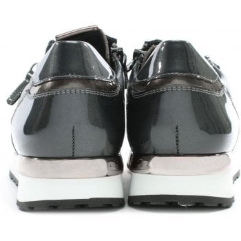 Hogl Double Zip Grey Patent Leather Lace Up Trainers