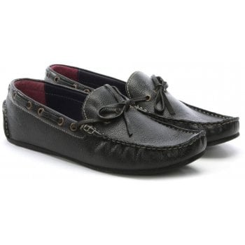 Gucinari Black Leather Driving Loafers