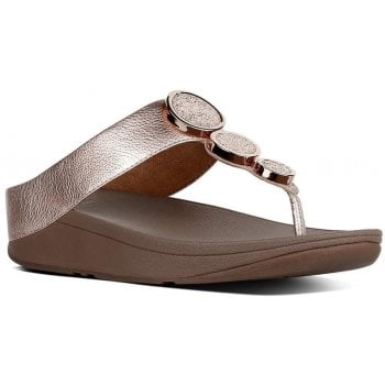 Fitflop Halo Rose Gold Leather Toe Post Sandals