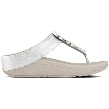 Fitflop Halo Silver Leather Toe Post Sandals