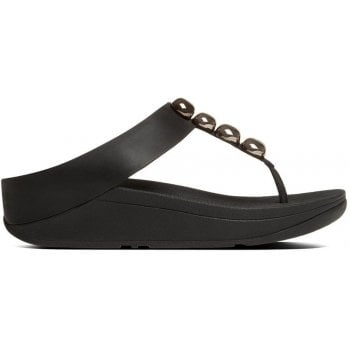 Fitflop Rola Black Leather Toe Post Sandals