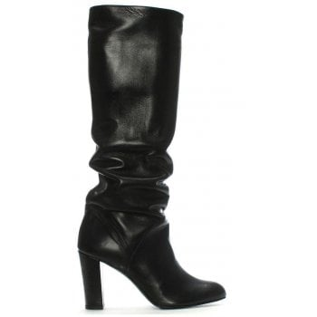 Daniel Atube Black Leather Rouched Knee Boots