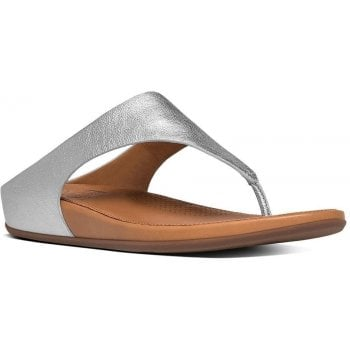 Fitflop Banda Silver Leather Toe Post Sandals