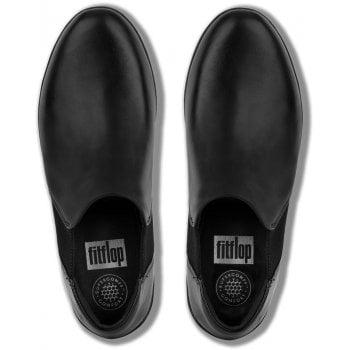 Fitflop Superchelsea Black Leather Slip On Shoes